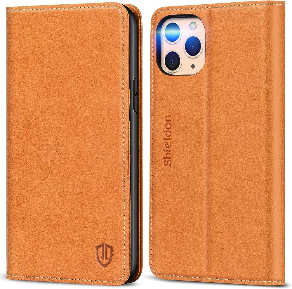 Shieldon portafoglio custodia per iphone 11 pro porta carte di credito in pelle protezione anticlonazione TGSD1910-13
