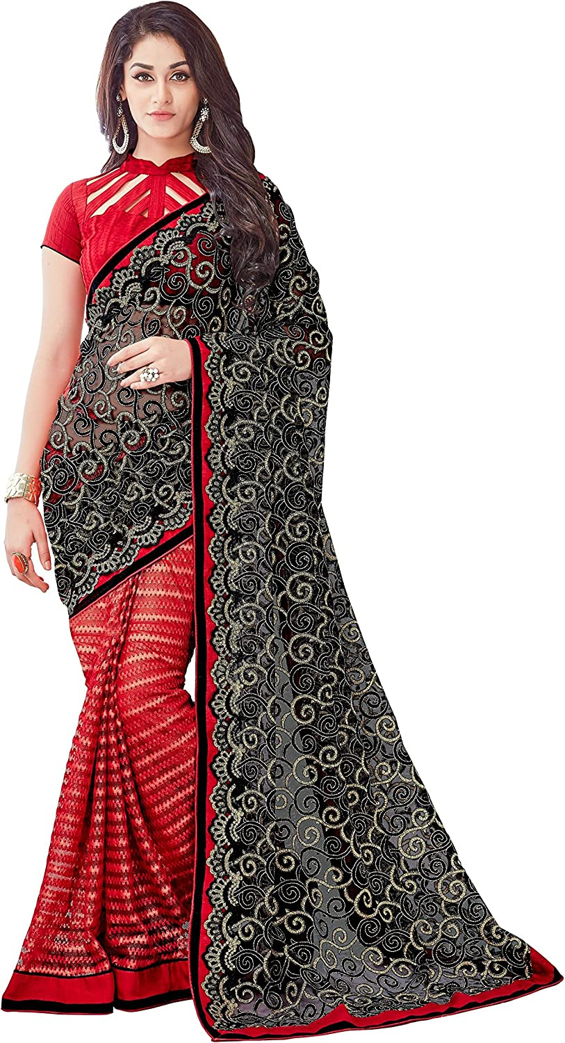 Viva N Diva Black And Red Net Saree With Unstitched Blouse Piece