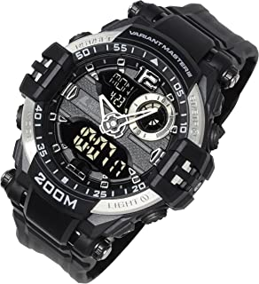 Lad Weather Ana-Digi Watch 660 ft Waterproof Stopwatch Timer Alarm World time Naval Camouflage Combat