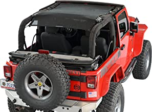 SPIDERWEBSHADE Jeep Wrangler Mesh Shade Top Sunshade UV Protection Accessory USA Made with 5 Year Warranty for Your JK 2-Door (2007-2018) in Black