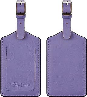 Travelambo Leather Luggage Bag Tags (Purple 5343 Classic Purple)