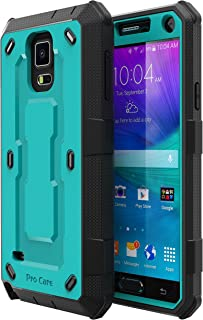 E LV Case for Galaxy Note 4 Case Shock Absorption/HIGH Impact Resistant Full Body Hybrid Armor Protection Defender Case Cover for Samsung Galaxy Note 4 - [Turquoise/Black]