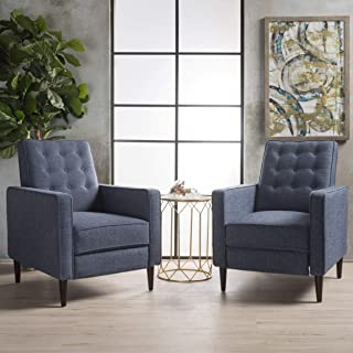 Christopher Knight Home 300974 Marston Mid Century Modern Fabric Recliner (Set of 2) (Dark Blue)