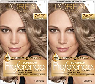 L'Oréal Paris Superior Preference Fade-Defying + Shine Permanent Hair Color, 7.5A Medium Ash Blonde, 2 COUNT Hair Dye