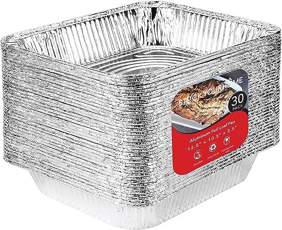 Aluminum Pans 9x13 Disposable Foil Pans (30 Pack) - Half Size Steam Table Deep Pans - Tin Foil Pans Great for Cooking