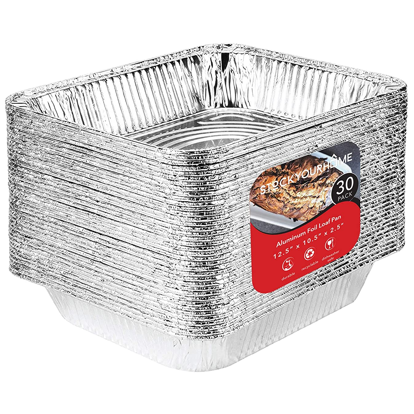 9x13 Disposable Aluminum Foil Baking Pans (30 Pack) - Half Size Steam Table Deep Pans - Aluminum Trays Great for Baking, Cooking, Heating, Storing, Prepping Food – 12.5