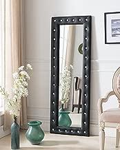Kings Brand Furniture - Modern Upholstered Tufted Standing Floor Mirror, Black