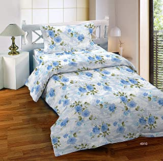Bombay Dyeing Breezo Collection Flat Single Bedsheet with 1 Pillow Cover, 37 x 224 cm, Blue, 4910 A