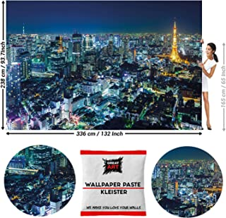 GREAT ART Photo Wallpaper Tokyo Skyline at Night 132.3x93.7in / 336x238cm - Wallpaper 8 Pieces Includes Paste.