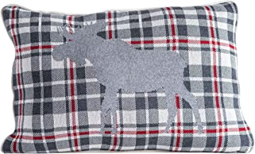 """Creative Co-op 22"""" Plaid Cotton Knit Moose Image & White Piped Trim Pillow, Grey"""
