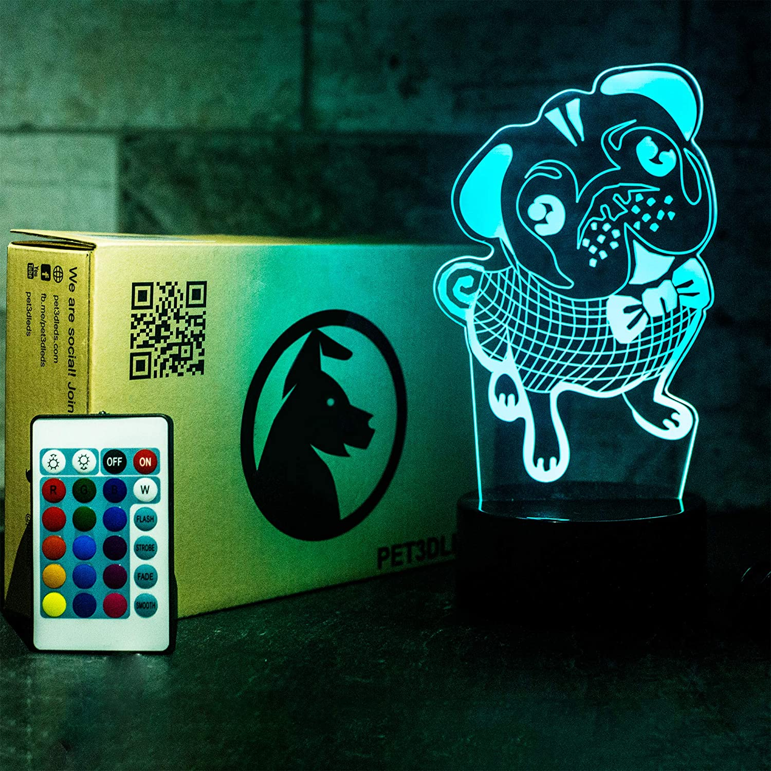 9. Pug Themed 3D Illusion Decorative Night light with Remote