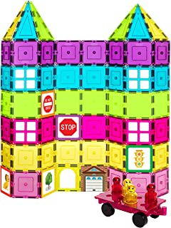 Shapemags Magnetic Tiles Building Set - Includes 104 Pastel and Neon Colored Tiles and 24 Stilemags. Made with Power+Magnets