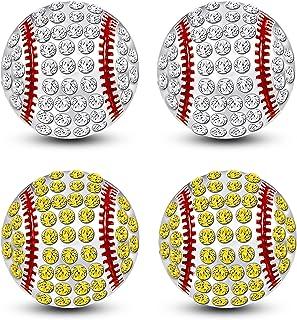 Thunaraz 2Pairs Baseball Earrings for Women Unisex CZ Baseball Earrings Softball Earrings for Women Men