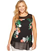 Vince Camuto Specialty Size - Plus Size Sleeveless Havana Tropical Chiffon Mix Media Top