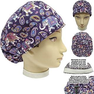 Cappello sala operatoria donna ELEFANTI per Capelli Lunghi Asciugamano assorbente sulla fronte facilmente regolabile medic...