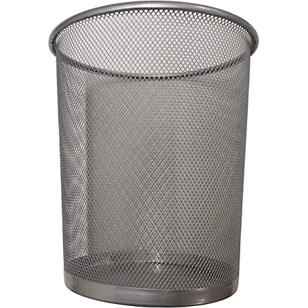 Divchi Circular Mesh Wastebasket Trash Can Waste Basket Garbage Can Bin For Bathrooms Kitchens Home Offices Dorm Rooms Silver Amazon Co Uk Diy Tools