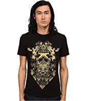 Just Cavalli - Short Sleeve Gold Graphic Super Slim Fit Tee