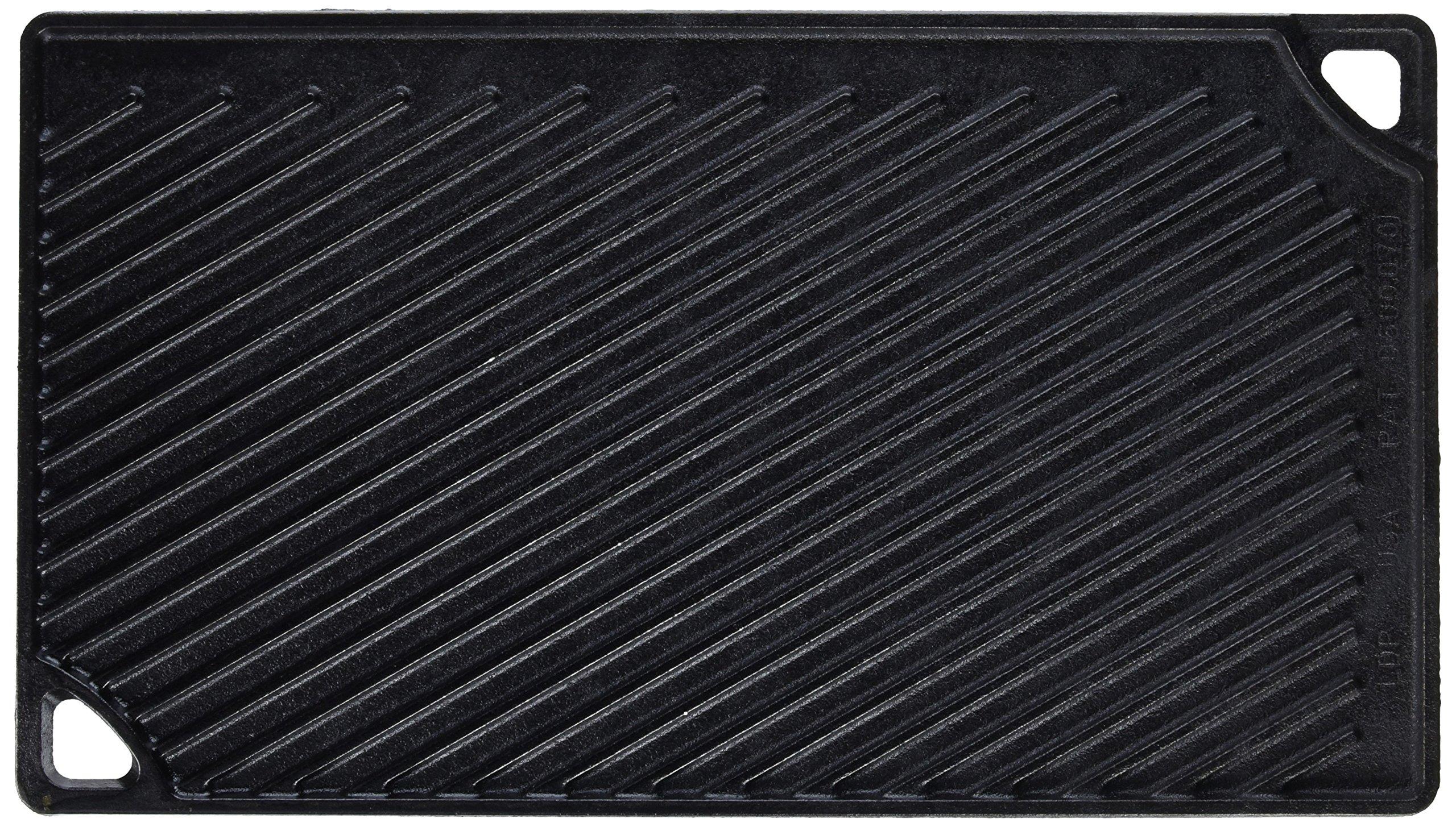 Lodge LDP3 42.55 x 24.13 cm / 16.75 x 9.5 inch Pre-Seasoned Cast Iron Rectangular Reversible Grill / Griddle, Black