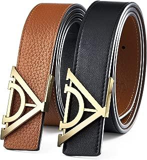 Mens Belt Leather Black / Brown Reversible Stainless Steel Buckle Belt Gift Box