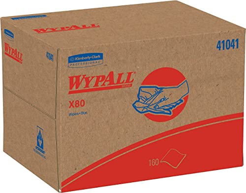 Wypall - KCC41041 X80 Reusable Wipes (41041), Extended Use Cloths Brag Box Format, Blue, 160 Sheets/Box; 1 Box/Case