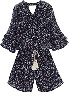 Big Girls Floral Printed Tier Ruffle Sleeves Romper (Many Options) with Pockets, 7-16