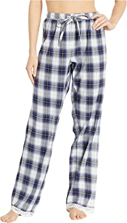 Soft Shadow Plaid PJ Pants with Lace Hem
