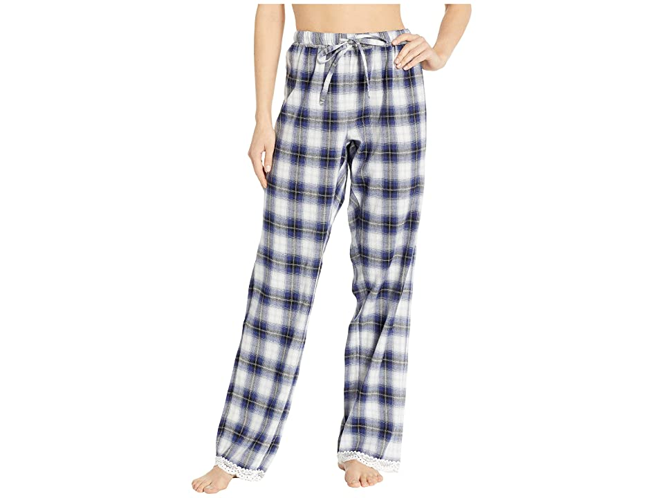 Dylan by True Grit Soft Shadow Plaid PJ Pants with Lace Hem (Blue) Women