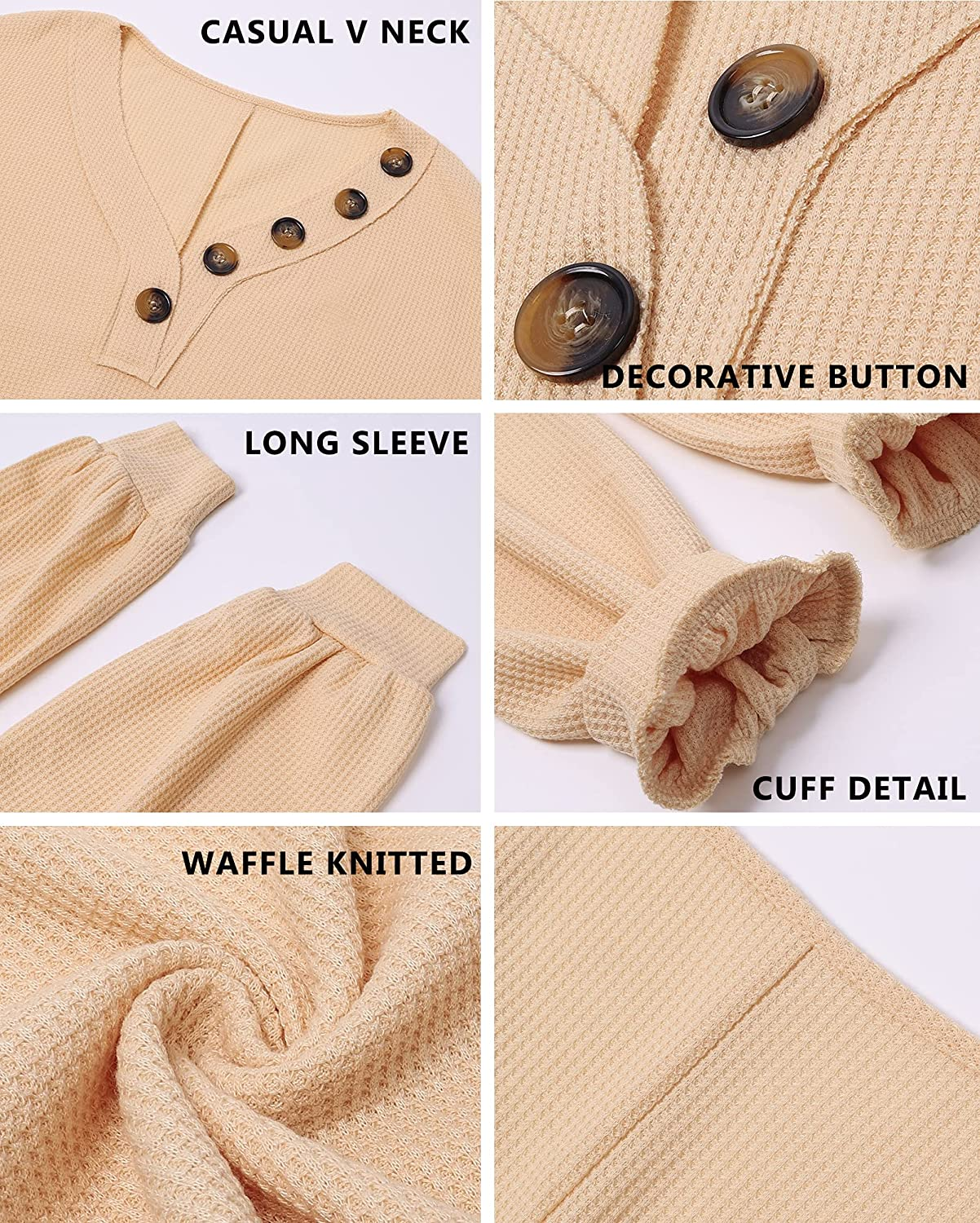 BTFBM Women Waffle Knit Shirts V-Neck Long Sleeve Casual Slouchy Loose Blouses Plain Faux Button Lightweight Pullover