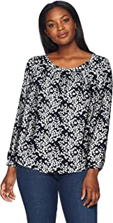 Amazon Brand - Lark & Ro Women's Long Sleeve Gathered Blouse