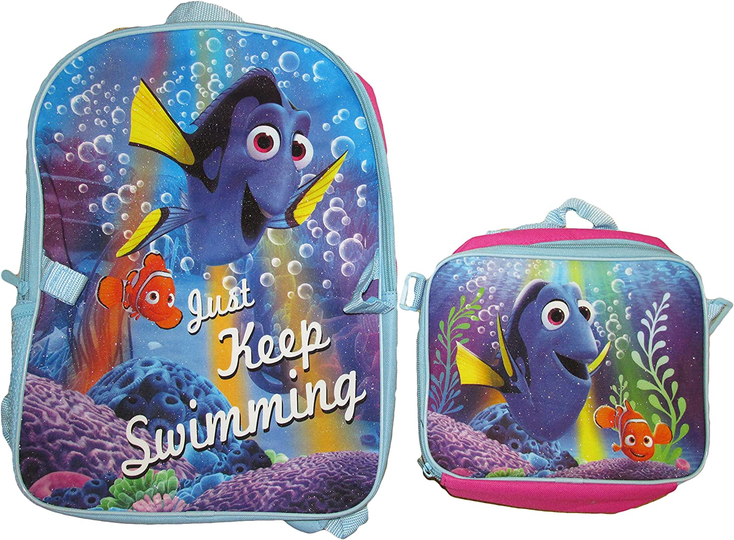 Disney Pixar Finding Dory Backpack with Lunch Bag Set (Light bluee Fuchsia)