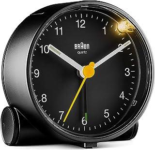 Braun klassisk analog väckarklocka med lummfunktion och ljus, tyst kvartsurverk, Crescendo-alarm i svart, modell BC01B