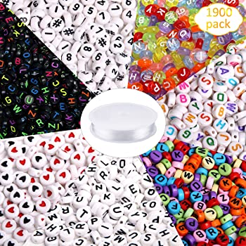 1900pcs 7 Colors Round Letter Beads Acrylic Alphabet Number Beads with 1 Roll Elastic Crystal String Cord for Jewelry Making DIY Necklace Bracelet (7x4mm)