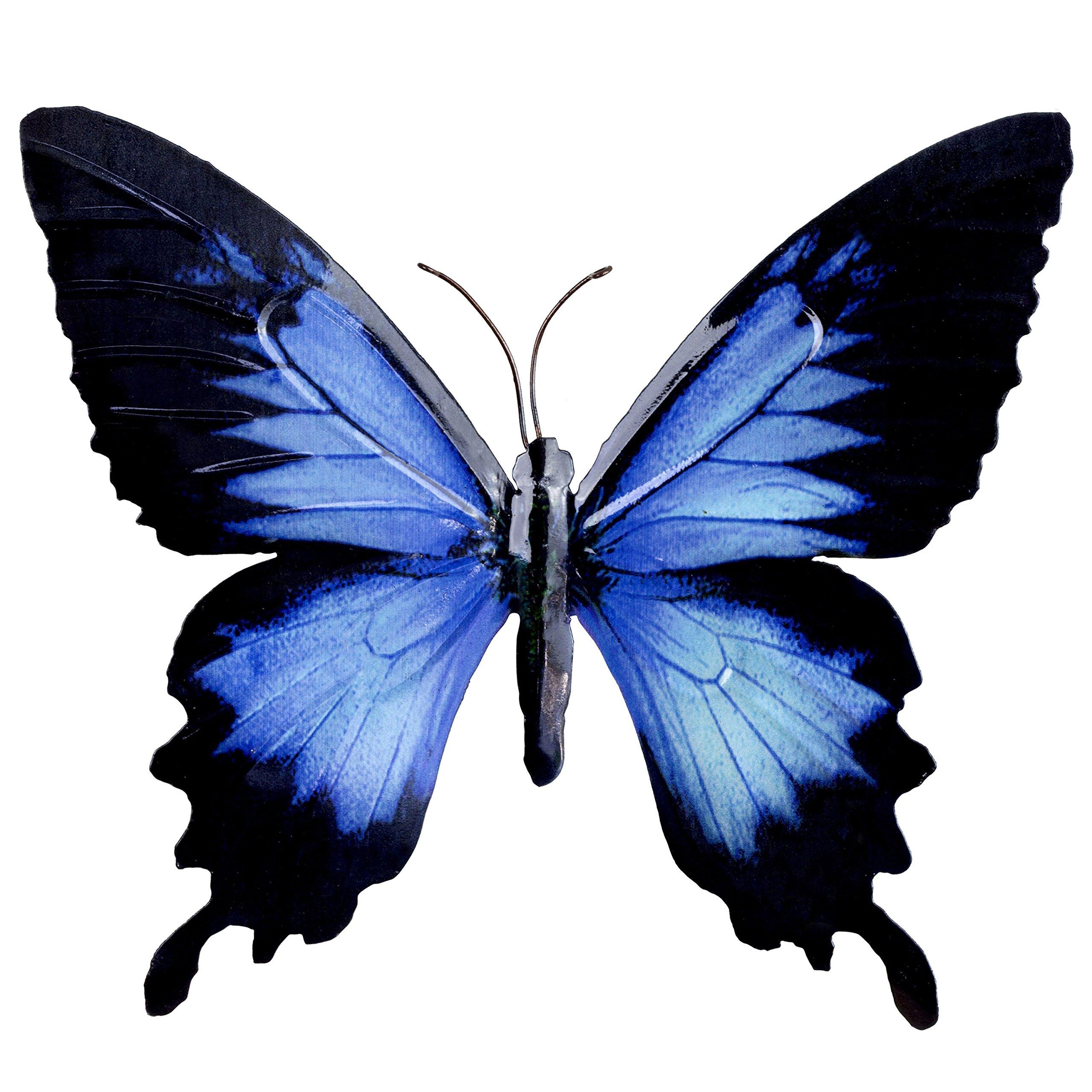 Adornos de pared de mariposas para jardín, diseño de mariposas de metal de colores brillantes, 5 colores disponibles, negro y azul: Amazon.es: Jardín