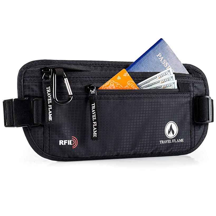 Travel Money Belt for Women and Men, Hidden RFID Blocking, Secure Waterproof Waist Pouch (black)