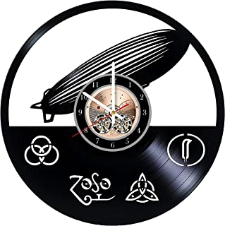 Wood Workshop Led Zeppelin Music Vinyl Record Wall Clock - Get Unique Bedroom or Living Room Wall Decor - Gift Ideas for him and her