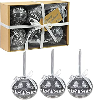 Pms Set of 6 Luxury Christmas Baubles Traditional Tree Decoration Xmas Themed Festive Balls (Grey Nordic Baubles)