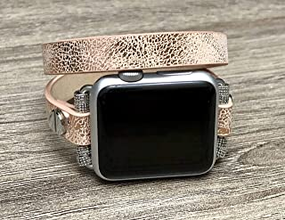 Double Wrap Sand Gold Vegan Leather Bracelet For Apple Watch All Series 38mm 40mm 42mm 44mm Handmade Unique Fashion Design Apple iWatch Band Adjustable Size Luxury Wristband Apple Watch Bracelet