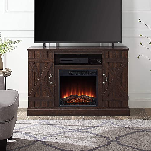 lowest BELLEZE Industrial Rustic Electric Fireplace TV Stand & Media Entertainment Center Console Table online sale for sale TVs up to 50 Inch with Open Storage Shelves & Cabinets – Veropeso (Espresso) outlet sale