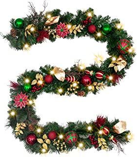 Valery Madelyn Pre-Lit 9 Feet/106 Inch Farmhouse Road Red Green Gold Christmas Garland with Ball Ornaments, Berries, Pine Cones, Ribbons and Flowers, Battery Operated 40 LED Lights