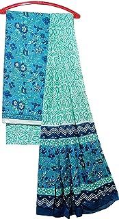 Women's Rajasthani Handblock Printed Look Cotton Unstitched Dress Material Top, Bottom and Dupatta 3 Piece Set (AK-009, Sk...