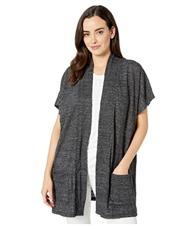 Mod-o-doc Soft and Slubby Sweater Open Front Short Sleeve Boxy Cardigan (Black) Women