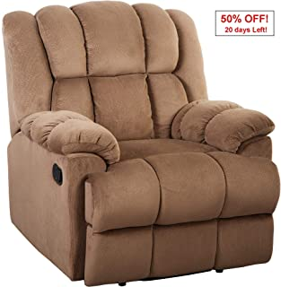 Oversize Recliner Sofa Chair 350lb Heavy Duty,JULYFOX Velvet Overstuffed Thick Padded Living Room Lounge Sofa Office Lounge Chair Comfortable Home Theater Chairs Extra Wide-Brown