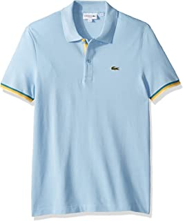 Lacoste Men's S/S 2 PLY Pique Slim FIT Striped Bottom Sleeve Polo Shirt, Creek, 4XL