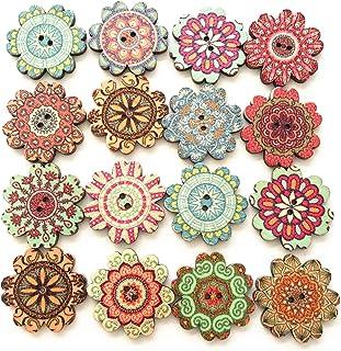 Changrongsheng 300 Pcs Boutons Coloré Mixte Bouton de Couture Artisanat Boutons En Bois Bouton De Fleur Décoratif En Motif...