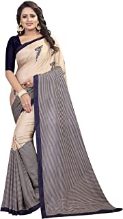 ETHNICMODE India Women's maalgudi and Kalamkari Silk Style Saree with Blouse Piece (Multi-Color_Free_Size) MOHINI Navy