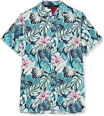 Tommy Hilfiger Camisa de Manga Corta con Estampado Hawaiano de Flores y Hojas. para Hombre