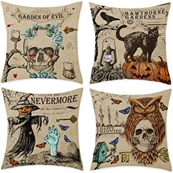 """Bonsai Tree Halloween Pillow Covers, Trick or Treat Pumpkin Skull Couch Throw Pillow Covers 18""""x18"""", Vintage Scary Black Cat Cotton Linen Pillow Cases Home Decorations for Sofa Set of 4"""