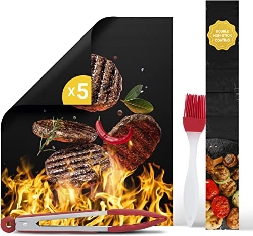HOMVERGY BBQ Grill Mats for Outdoor Grilling - Nonstick Barbecue Cooking Pad Sheets Reusable for Gas & Charcoal Grill...