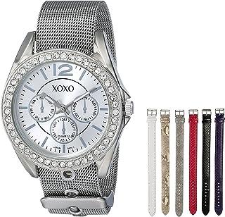ساعة اكس او اكس او للنساء XO9053 مرصعة بالرينسيون مع أشرطة قابلة للتبديل