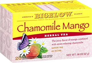 Bigelow Chamomile Mango Herbal Tea 20-Count Boxes (Pack of 6), 120 Tea Bags Total.  Caffeine-Free Individual Herbal Tisane Bags, for Hot Tea or Iced Tea, Drink Plain or Sweetened with Honey or Sugar